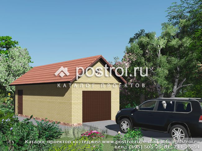 Проект гаража из пеноблоков № A-028-1P