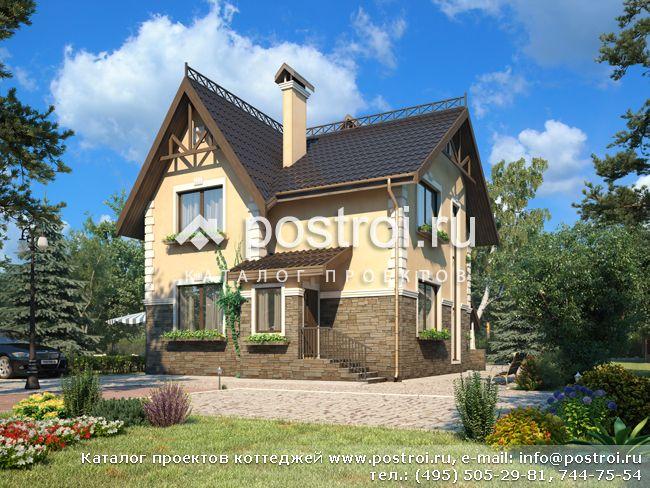 Проект пенобетонного дома с цокольным этажом № B-169-1P