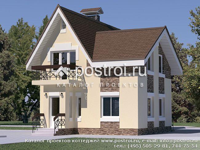 Проект дома из блоков с мансардой C-132-1P