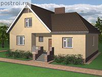 Проект Проект дома из пенобетона D-112-1P с верандой и мансардой.