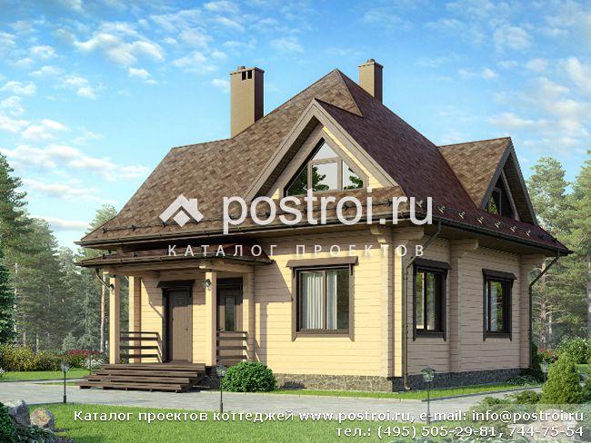 Проект одноэтажного деревянного дома с мансардой № D-126-1D