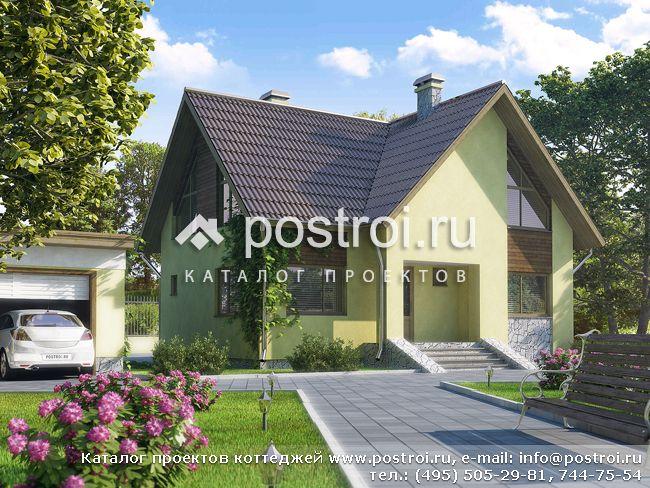 Проект дома с мансардой и балконом № D-152-4P