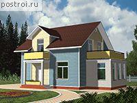 Проект дома D-156-1P.  Одноэтажный загородный дом с мансардой рассчитан на семью из 3-5 человек.  Материал.
