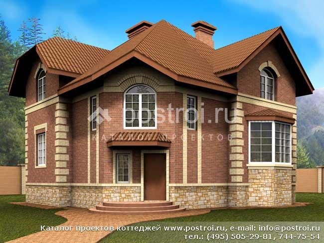 Загородного дома из кирпича № e 190 1k