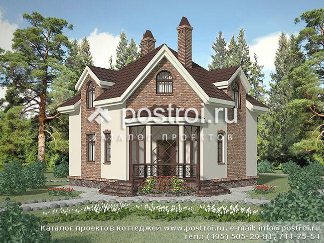 Проект небольшого дома из газобетона № F-093-1P