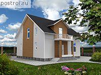 Отложить.  Одноэтажный загородный дом с мансардой предназначен для проживания семьи из 3-5 человек.