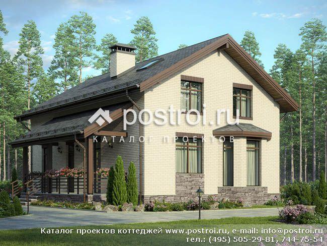 Проект дома с мансардой и эркером № F-176-1P
