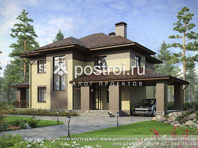 Чертеж: частный дом из поризованного камня № F-211-1K [AV300]