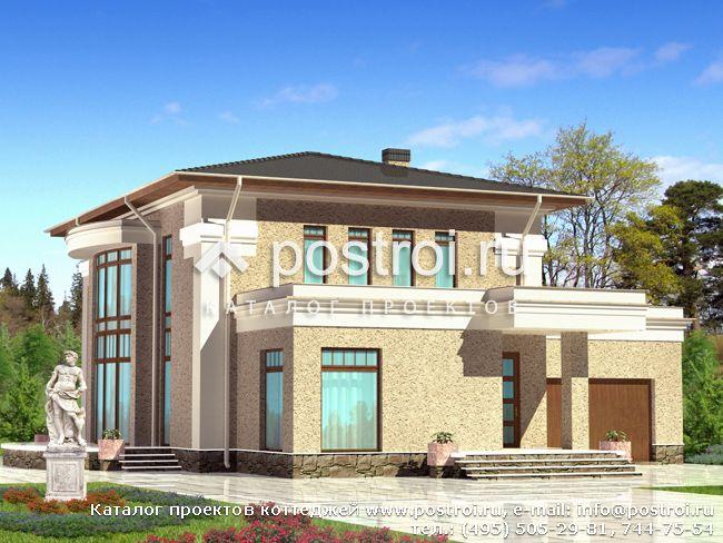 Проект двухэтажного дома с бассейном № F-254-1P