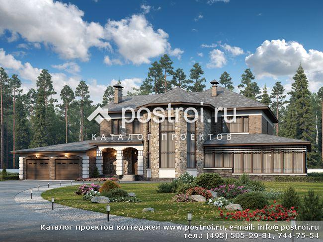 Чертежи-проект особняка с гаражом № F-506-1P