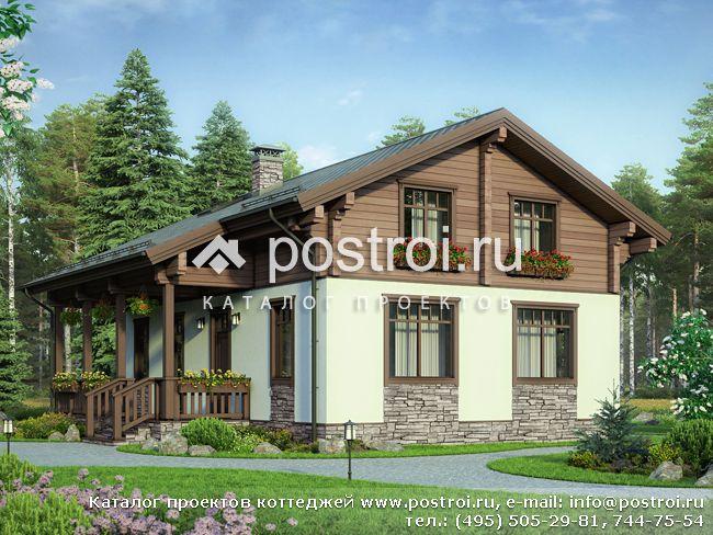 Проект комбинированного дома из газобетона и бруса № G-178-1P