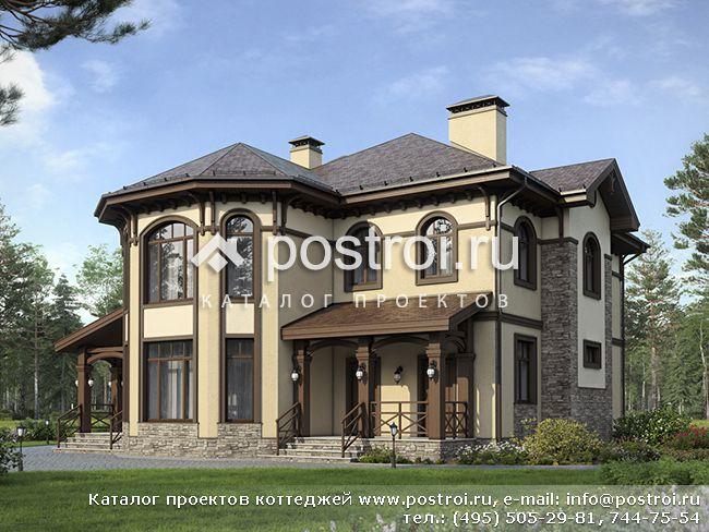 Дом из поризованного камня с крыльцом № G-221-1K