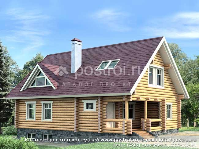 Типовой проект бревенчатого дома № I-192-1D