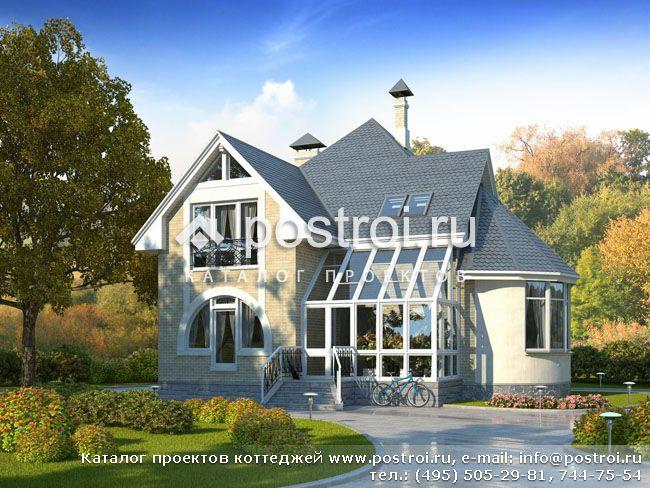 Проект двухэтажного дома из пеноблоков J-182-1P
