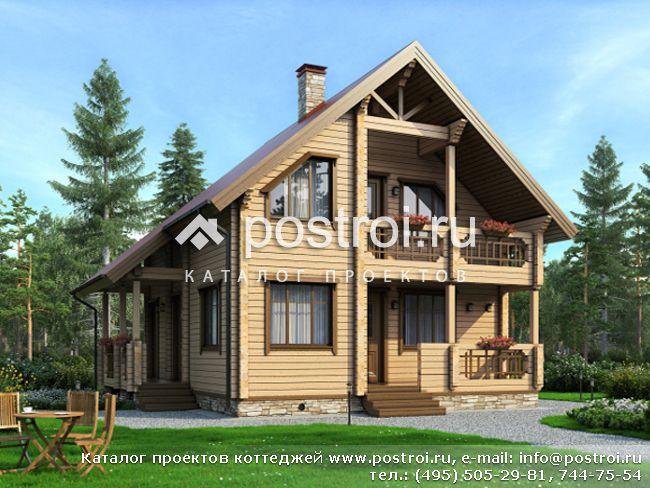 Проект дома из бруса с сауной № M-121-1D