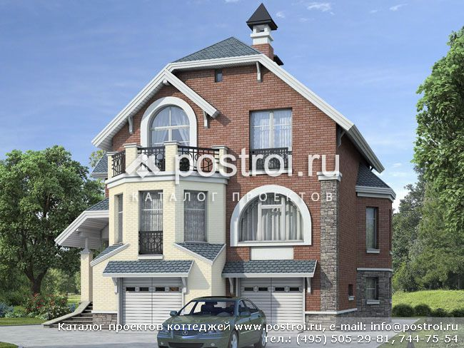 Дом-коттедж с 2 гаражами № N-230-1P