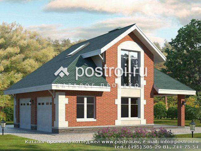 Проект двухэтажного гаража № P-079-1P