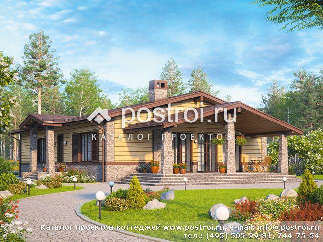 Одноэтажный дом с сауной и террасой № R-155-1P