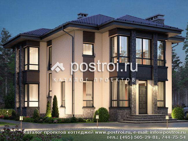 Проект красивого двухэтажного дома № R-192-1P