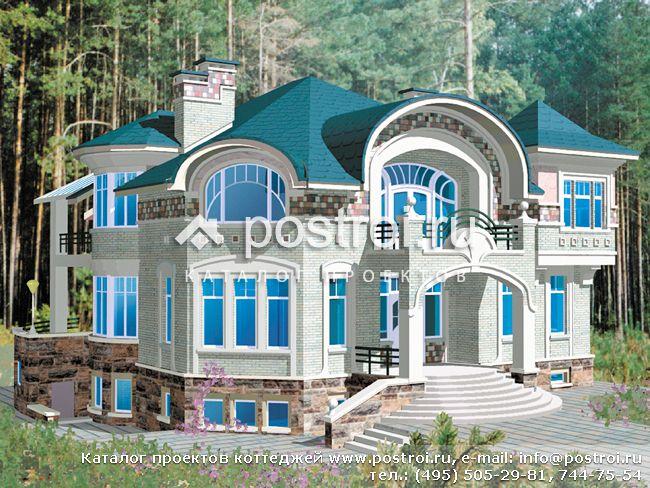 Проект двухэтажного мансардного 7-комнатного жилого дома. кирпич.  Материал.