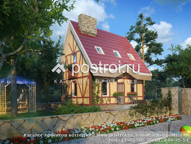 Проект дома по каркасной технологии № T-046-1S