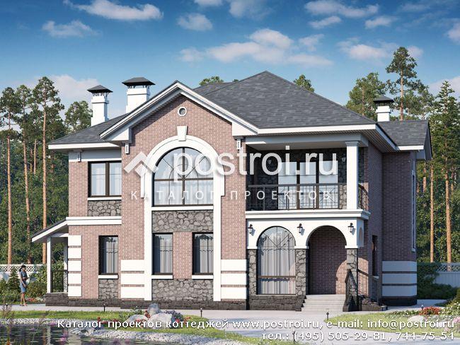 Проект 2-этажного кирпичного дома № T-259-1K