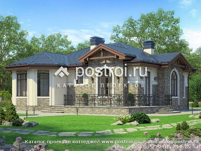 Проект одноэтажного дома с террасой № U-127-1P