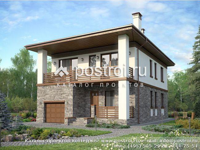 Красивый двухэтажный дом с гаражом фото