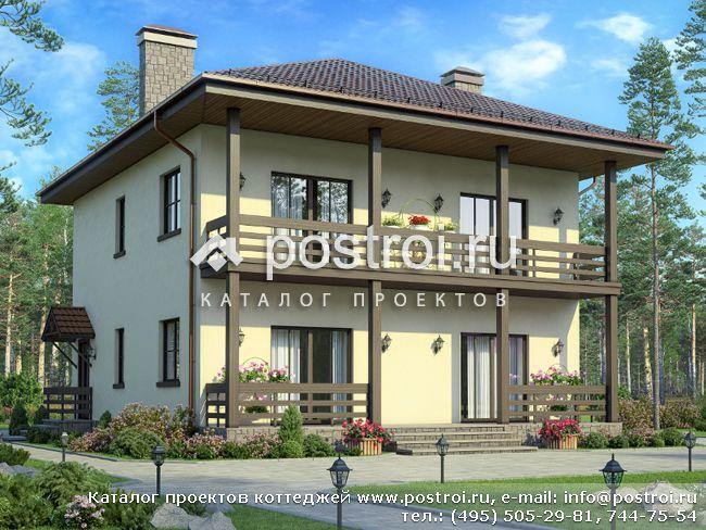 Проект двухэтажного каркасного дома № U-208-1S