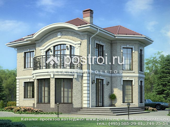 Проект дома с большим эркером № V-142-1K