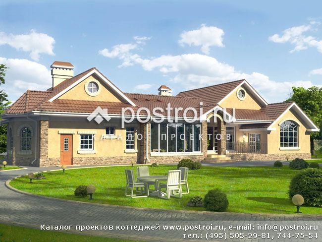 Одноэтажный загородный дом фото