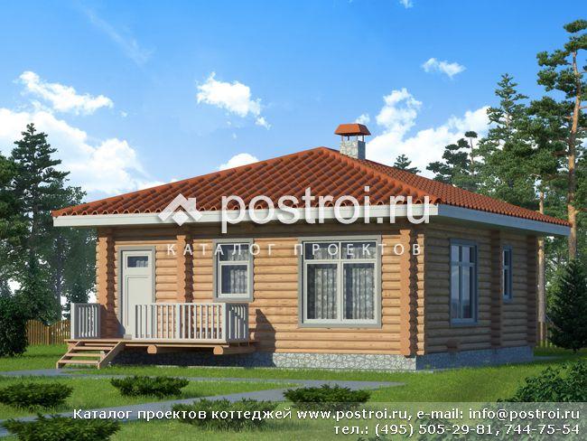 Проект одноэтажного дома из бревна № X-060-1D