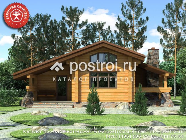 Проект дома из дерева 12 на 12 № Y-080-1D
